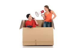 Chat box couple quarrel Royalty Free Stock Image