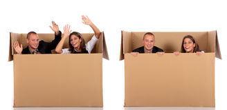 Chat box friends couple. Young couple friends in chat box, cardboard box representing chat room.  Studio, white background Stock Photo