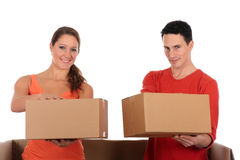 Chat box friends couple. Young couple friends in chat box, cardboard box representing chat room.  Studio, white background Royalty Free Stock Photos