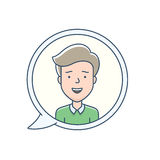 Chat bubble with avatar. Symbol. Vector icon of chat communication symbol. Vector illustration of call center operator Stock Image
