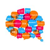 Chat bubble concept for language translation idea. Social chat bubbles with different language words in speech bubble shape, concept illustration for Stock Photos