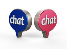 Chat Bubble Icon 3D. On white background Royalty Free Stock Images