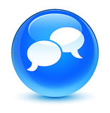 Chat bubble icon glassy cyan blue round button Stock Image