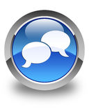 Chat bubble icon glossy blue round button Stock Images