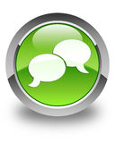 Chat bubble icon glossy green round button Royalty Free Stock Image
