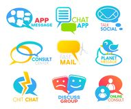 Chat bubble, social media, speech talk app icons. Chat bubble icons of talk message app. Vector social media application of speak conversation or consult center royalty free illustration
