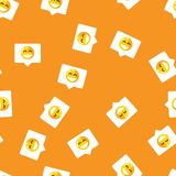 Chat bubble in mobile message and social network seamless pattern background. Smile on chat bubble on orange pattern Stock Images