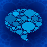 Chat bubble symbol on blue background Stock Photos