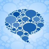 Chat bubble symbol on blue background Royalty Free Stock Photos