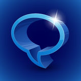 Chat bubble symbol on blue background Royalty Free Stock Photo