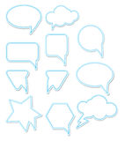 Chat bubbles. White with blue stroke chat bubbles. Vector illustration Royalty Free Stock Photo