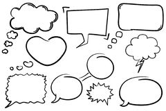 Chat Bubbles. Collection of hand drawn comic book style vector chat bubbles Royalty Free Stock Photo