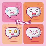 Chat bubbles collection kawaii. Chat bubbles kawaii cartoons collection vector illustration graphic design Stock Photos