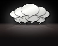 Chat Bubbles Crowd on Dark Background Stage. Chat bubbles crowded together on dark background template Royalty Free Stock Images