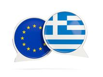 Chat bubbles of EU and Greece isolated on white Royalty Free Stock Image