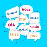 Hello chat bubble translation in foreign languages. Chat bubbles with hello word in different languages, concept illustration for translation idea or Stock Image