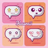 Chat bubbles collection kawaii. Chat bubbles kawaii cartoons collection vector illustration graphic design Stock Images