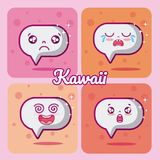 Chat bubbles collection kawaii. Chat bubbles kawaii cartoons collection vector illustration graphic design Royalty Free Stock Photos