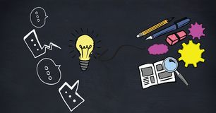 Chat bubbles with light bulb and stationery Stock Photo