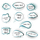 Chat bubbles with Thank you and Welcome back messa Stock Photo