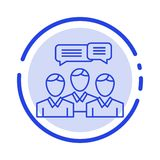 Chat, Business, Consulting, Dialog, Meeting, Online Blue Dotted Line Line Icon vector illustration