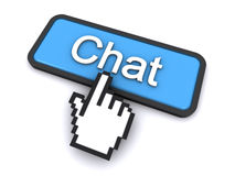 Chat button. Cursor clicking on the chat button (3d render Stock Images