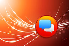 Chat Button on Red Abstract Light Background Stock Photo