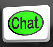 Chat Button Shows Talking Typing Or Texting Royalty Free Stock Image
