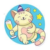 Chat célébrant avec le verre du vecteur de champagne Photographie stock