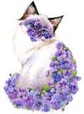 Chat Chat d'aquarelle Fond d'aquarelle de fleur Photographie stock