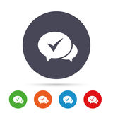 Chat check sign icon. Yes or Tick symbol. Royalty Free Stock Photos