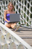 Chat cirlces (Beautiful woman with notebook) Stock Images