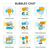 Chat Colored Line Icon Set Royalty Free Stock Image