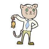 chat comique d'affaires de bande dessinée avec la souris morte Photo stock