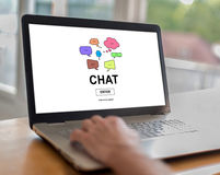 Chat concept on a laptop Stock Image