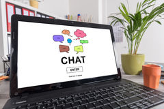 Chat concept on a laptop Royalty Free Stock Photography