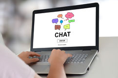 Chat concept on a laptop Stock Photos