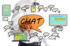 Chat concept shown by a man. In background Royalty Free Stock Image