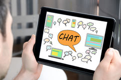 Chat concept on a tablet Stock Photos