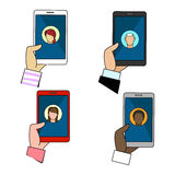 Chat connection icons set royalty free illustration