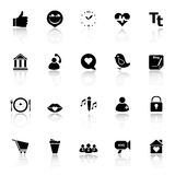 Chat conversation icons with reflect on white background Royalty Free Stock Photos