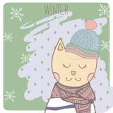 Chat d'hiver dans le scharf et le chapeau de vêtements Tiré par la main Illustration Stock