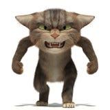 chat 3D pelucheux agressif dessus Illustration Libre de Droits