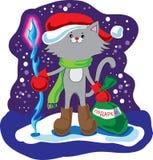 Chat d'une manière amusante Santa Claus Photo libre de droits