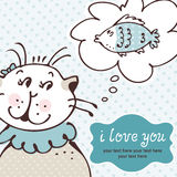 Chat dans la carte d'amour Image stock