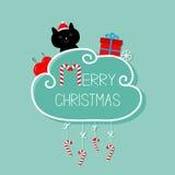 Chat dans le chapeau de Santa, giftbox, flocon de neige, boule Carte de Joyeux Noël canne de sucrerie s'arrêtante Ligne de tiret  Images stock