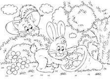 Chat dans les gaines et lapin Images stock
