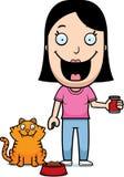 Chat de alimentation de femme de bande dessinée illustration libre de droits