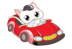 Chat de bande dessinée montant une voiture rouge Image stock