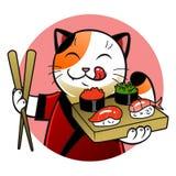 Chat de chef de sushi Images libres de droits